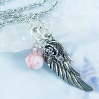 Precious Rose Angel Wing Necklace - Handmade Jewelry - Crystal And Glass