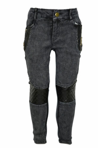 Jeans Mädchen Hose mit  Lederlook Streifen Kinder Hose 98//104,110//116,