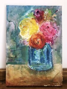 Original-Abstract-Acrylic-Pastel-Painting-Flowers-A4-Still-Life-FineArt-Signed