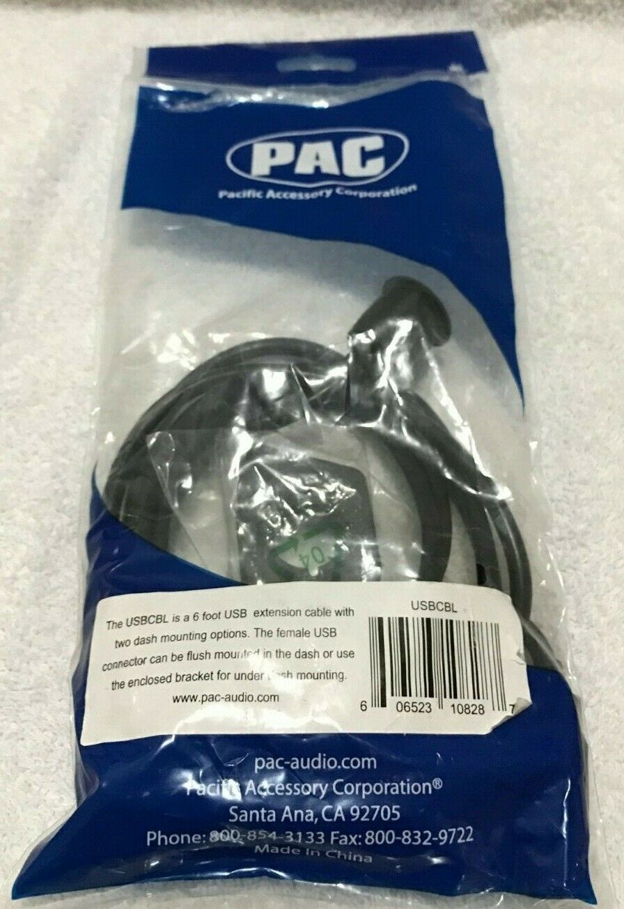 PAC USBDMA6 6ft USB Extension Cable with 2 Mounting Brackets