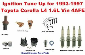 ignition tune up 93 97 corolla l4 1 6l 4afe spark plug wire set cap corolla 97 jdm image is loading ignition tune up 93 97 corolla l4 1