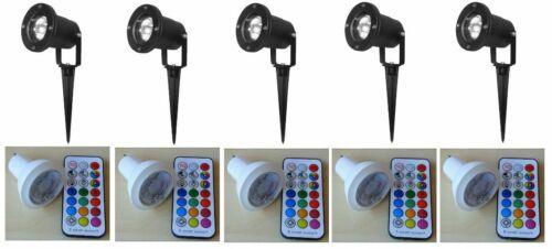 schwarz RGBW B2840 Timer 5-er SET FB Gartenspot LED RGBW Strahler
