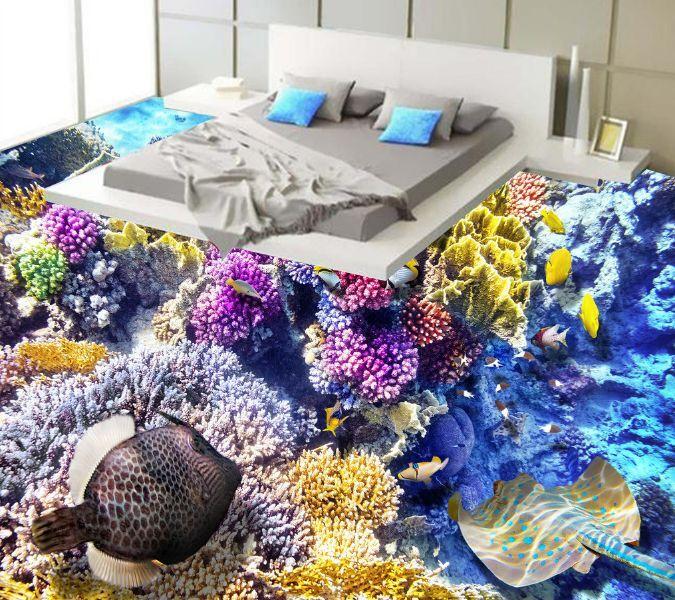 3D Farbe Gold Fish Reef Floor WallPaper Murals Wall Print Decal 5D AJ WALLPAPER