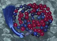 Buddhist Knotted Majenta Pink Jade And Lapis Lazuli Prayer Beads