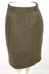 vintage-womens-brown-windowpane-RALPH-LAUREN-wool-TWEED-pencil-skirt-MEDIUM-10