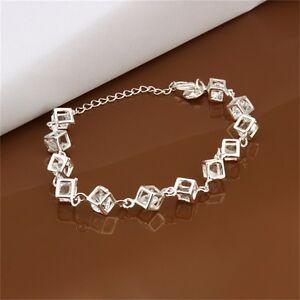 New-Women-Girls-Silver-Plating-Charm-Cube-Crystal-Chain-Bracelet-Bangle-ge
