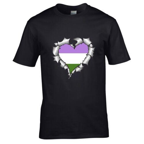 Ripped Déchiré Métal Cœur avec lgbtqia genderqueer Pride Drapeau T-shirt homme tshirt