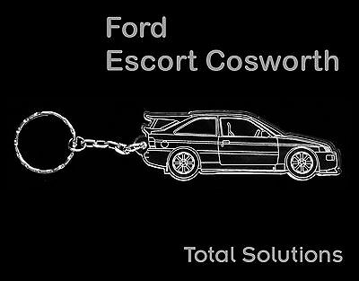 Great Gift Ford Escort Cosworth Keyring shape with 25mm Split Ring /& Chain