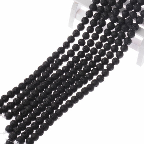 "1 String Black Lava Stone Jewelry Making Loose Beads 15/"" Handmade DIY Bracelets"