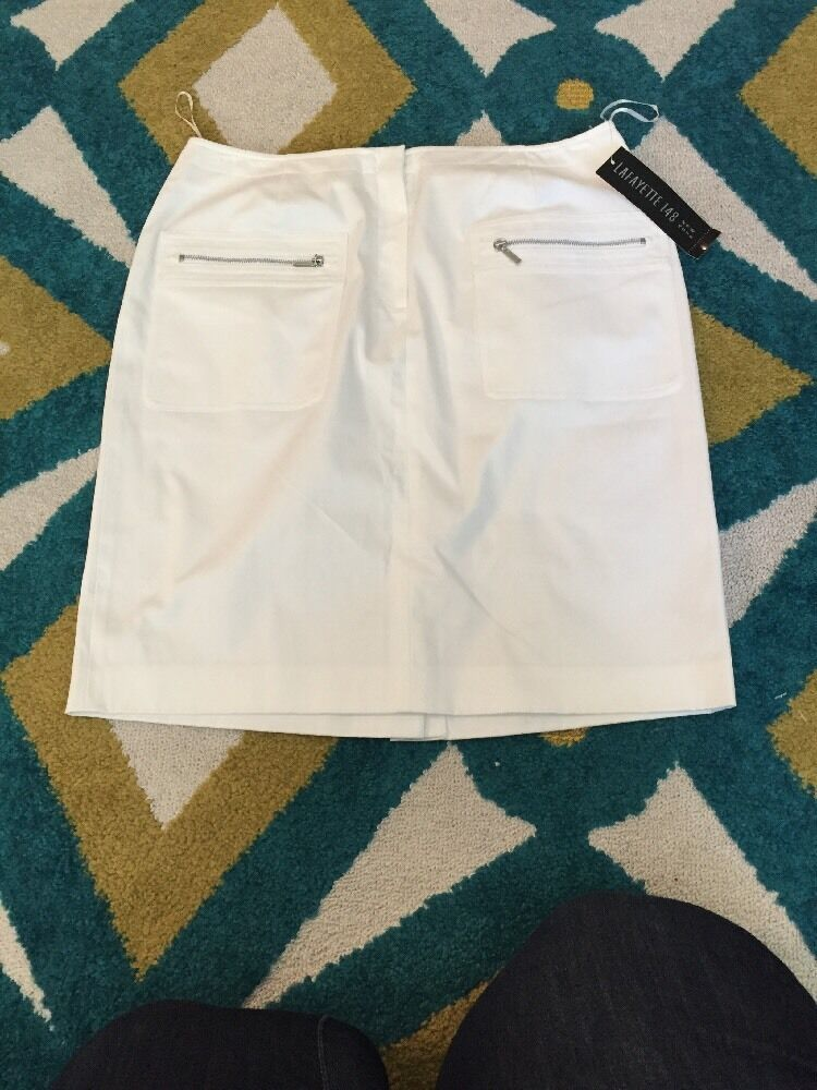 Lafayette 148 Petite Womens Size 10 White Skirt NWT Retails  228
