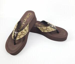 8605b8c8f5 Calvin Klein Women's Wedge Flip Flops Brown Tan 2 Inch Heels Size 9 ...