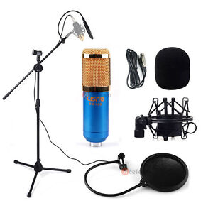 condenser microphone sound studio recording blue mic w boom stand pop filter set ebay. Black Bedroom Furniture Sets. Home Design Ideas
