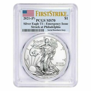2021 (P) $1 American Silver Eagle PCGS MS70 Emergency Issue FS Flag On Hand