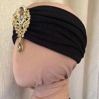 Queen Bee Gathered Headband GG Print Stretch Fabric Jewel Bee Brooch Handmade