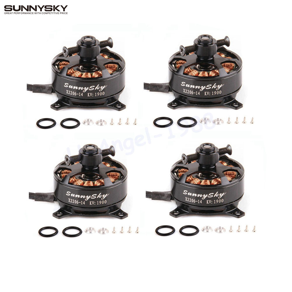 4x Sunnysky X2206 1500KV 1900KV Outrunner Brushless Motor 2206 for RC Multicopte