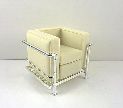 Dollhouse Miniature Reac Modern Chair White Cube Chair, REC 091