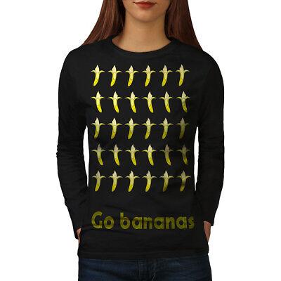 Analitico Wellcoda Banana Divertente Cibo Da Donna Fruit Manica Lunga T-shirt, Frutta Design Casual-mostra Il Titolo Originale