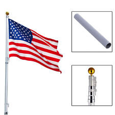 20Ft Aluminum Telescoping Flagpole Kit Outdoor Gold Ball + 1 US America Flag New