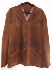 50s 60s Suede Leather Jacket Car Coat Brown Button Beatnik Rockabilly Medium