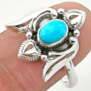 1.64cts Solitaire Blue Arizona Mohave Turquoise Silver Heart Ring Size 9 T40732
