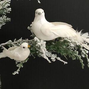 BIANCO-Puro-Bird-Clip-per-decorazione-COLOMBA-Piuma-Albero-di-Natale-Matrimonio-Vintage