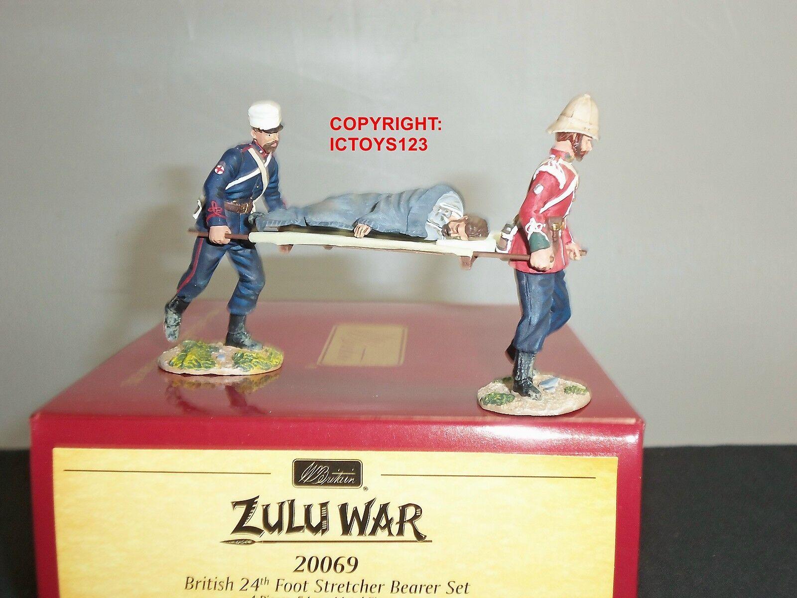 BRITAINS 20069 ZULU WAR BRITISH 24TH FOOT STRETCHER BEARER METAL TOY SOLDIER SET