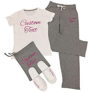 Custom-Printed-T-Shirt-amp-Pantaloni-Pigiama-Set-Personalizzato-dormire-da-Festa-PJ