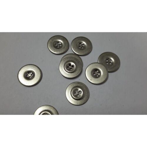 7630 n 10 bottoni rotondi in metallo colore argento lucido cm 2,2 a 4 fori