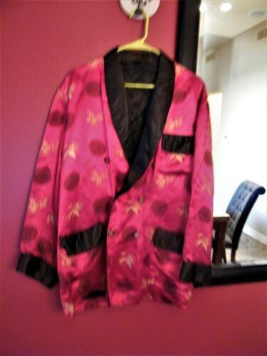 Smoking Lounge Jacket Mens Red Silk Oriental Asian