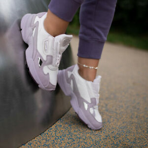 Details about Adidas Originals Falcon Zip Leather Purple EF1953 Women Lifestyle Running Shoes