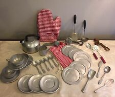 Vtg 34 Piece Lot Tin & Aluminum Child Kitchen Cookware & West Bend Tea Kettle