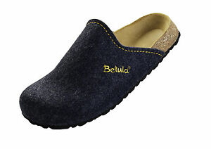 Details about Betula House Slippers 36 37 38 Narrow Stitching Blue Blue Felt Clogs 122213 show original title