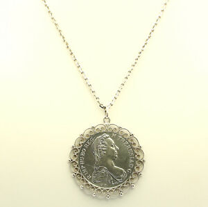 Anhaenger-Maria-Theresia-Taler-mit-Fassung-Kette-Silber-Silberkette-Muenzen