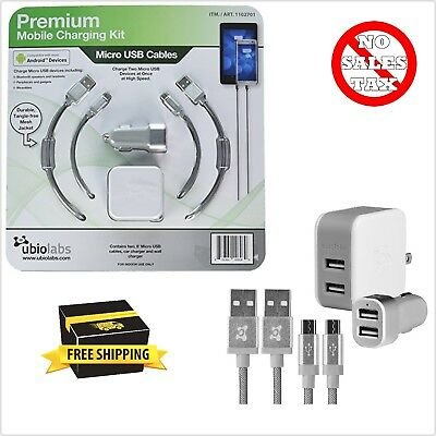 """Ubiolabs Premium Mobile Charging Kit For Android Devices  2x 6/"""" Micro USB Cables"""