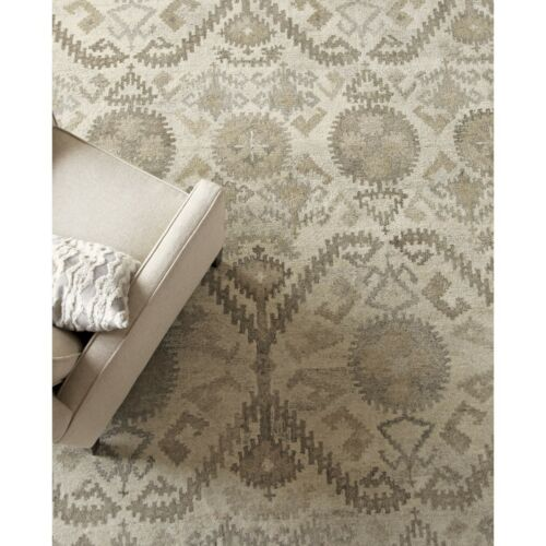 Crate /& Barrel Orissa Neutral 6/' x 9/' Handmade 100/% Wool Area Rugs /& Carpet