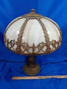 Antique-Huge-Art-Nouveau-8-Panel-Slag-Glass-Lamp-Light-Cast-Metal-Base-Filigree