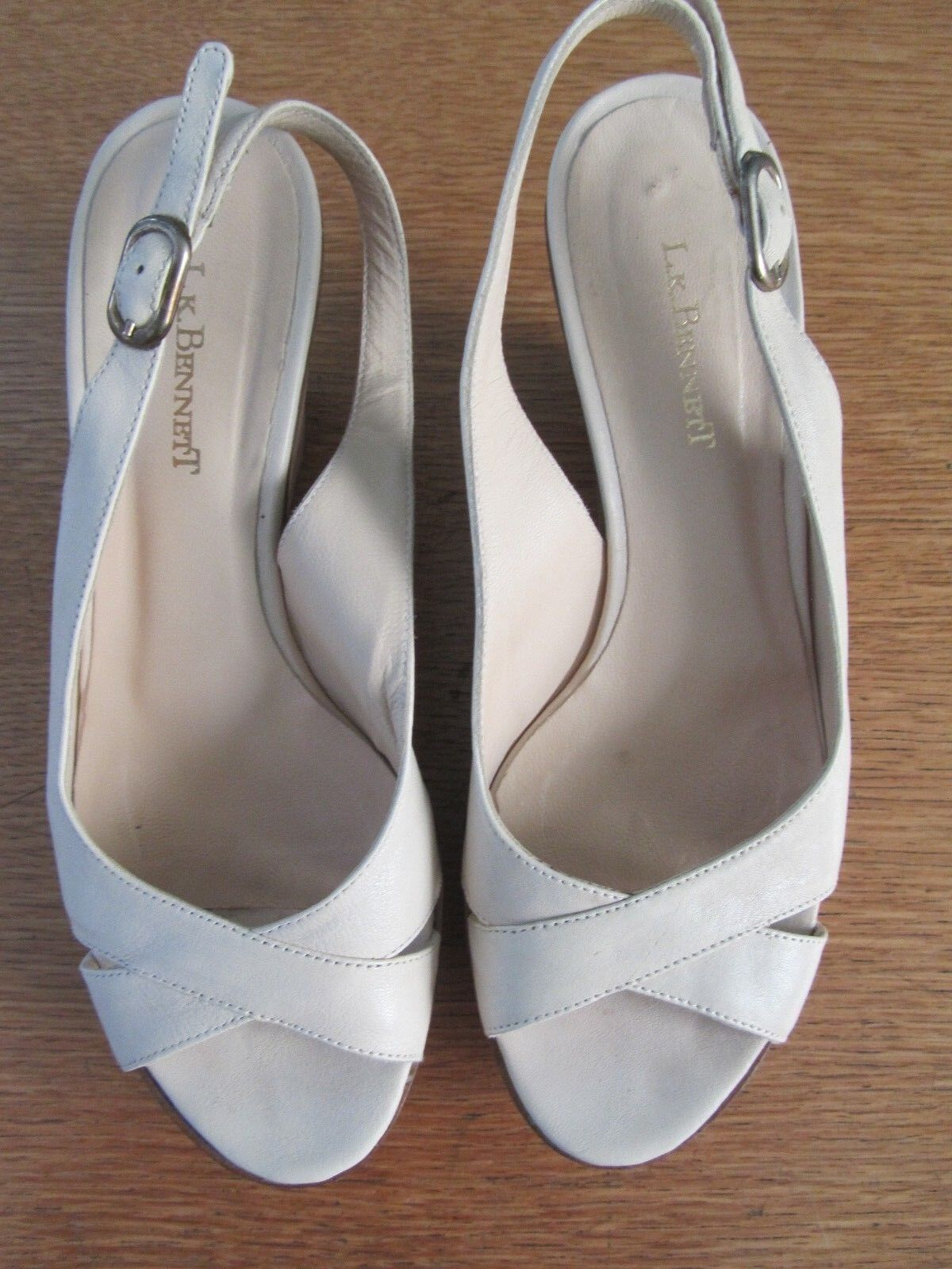 LK BENNET CLAUDE CREAM LEATHER WEDGE Schuhe/SANDALS  EU36 UK4  Schuhe/SANDALS 9cm HEELS e4bd7d