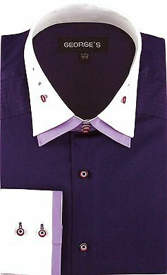 Men's 100% Cotton dress Solid Color Double Spread Collar By George AH 605