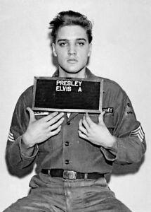 Framed-Print-Elvis-Presley-Army-Mugshot-Picture-Poster-Rock-amp-Roll-Singer