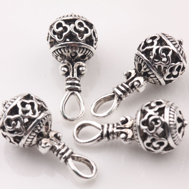 Tibetan Oval Spacer Beads 6 x 10mm Antique Silver 20 Pcs Art Hobby DIY Jewellery