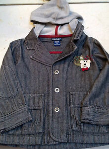 New Boys Black Denim Jacket With Hoodie With Handmade Teddybear 3 3t