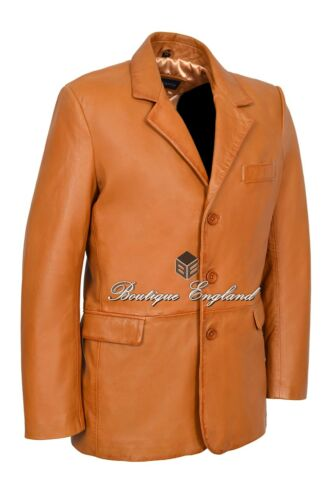 Mens Leather BLAZER TAN Classic ITALIAN Tailored Soft REAL LEATHER 865