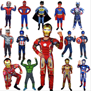 Kinder-karneval-Cosplay-Kostuem-Captain-America-Spiderman-Batman-maske-Kit-Suit