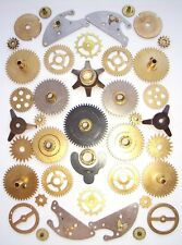 Lot of 30+ vintage large small clock brass gears wheels cogs Steampunk parts #6