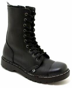 T.U.K A9753 10 Eye Boot Steel Toe Black Matt Pu