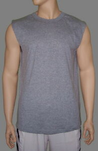 Sleeveless-T-Shirt-Heather-Gray-Lt-Weight-Poly-Cotton-by-High-Five-Men-039-s-3XL