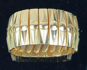 Vintage-Art-Deco-Accordion-Expansion-Bracelet-Gold-Tone