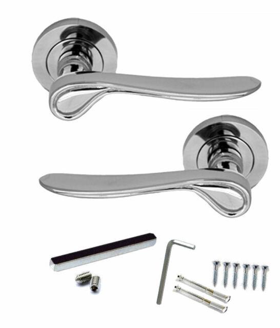 Lever on Rose Door Handles STELLAR Design Polished Chrome Door Handle 1-16 Pairs