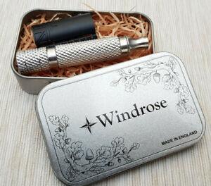 Windrose-RA2-Al-Safety-razor-Slant-Matt-black-Made-in-UK