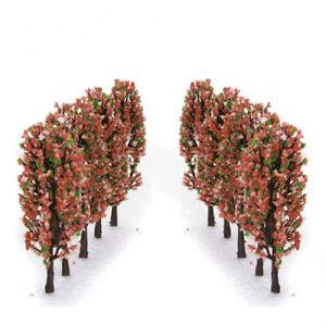 20pcs Peach Flower Model Trees Train Railway Garden Spring Scenery 1:200 Z
